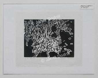Original Linocut Print - N.Y. Marsh, Artist's Proof I, 3/5