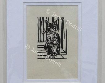 Original Linocut Print - Stray, 6/16
