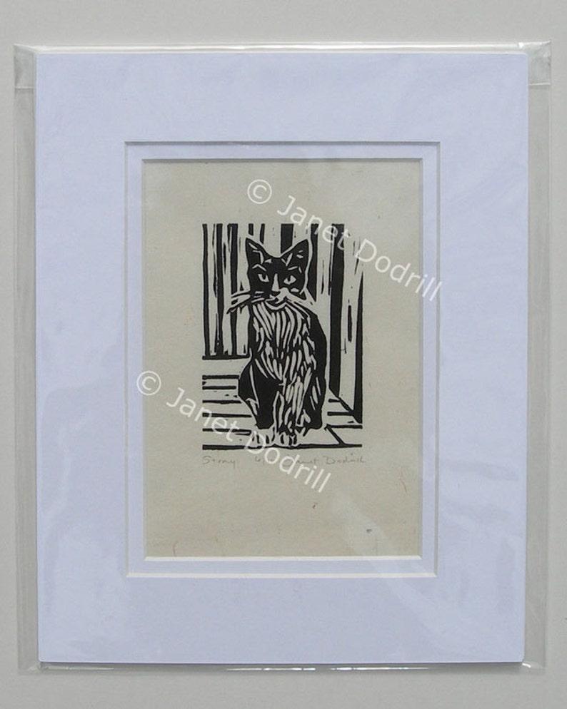 Original Linocut Print  Stray 6/16 image 0