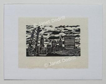 Original Linocut Print - Cleveland, 11/24