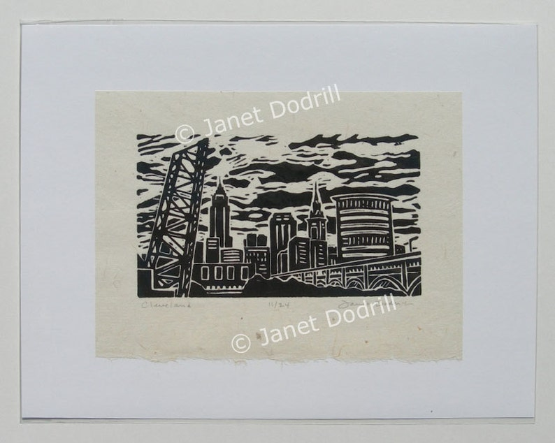 Original Linocut Print  Cleveland 11/24 image 0