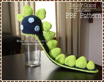 Crochet Dinosaur Hat Pattern, Spiked Beanie Cape, LONG TAIL DINO - pdf 136