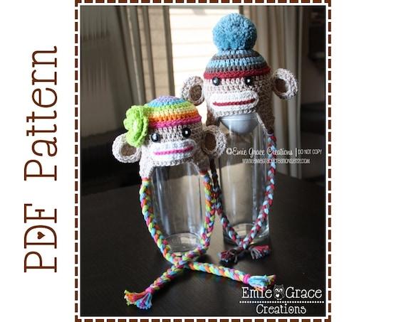 Crochet Sock Monkey Hat Pattern Ear Flap Sedric And Sadie Etsy