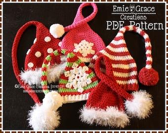 Stocking Cap Hat Crochet Pattern, 8 Sizes from Newborn to Adult, CHRISTMAS ELF - pdf 304