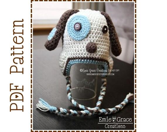 Crochet Puppy Hat Pattern Dog Ear Flap Logan And Lola Pdf Etsy
