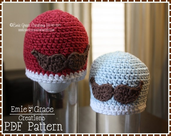 Mustache Hat Crochet Pattern 8 Sizes From Newborn To Adult Etsy
