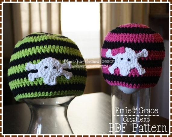 Crochet Skull And Crossbone Hat Pattern Stripe Beanie Axle Etsy