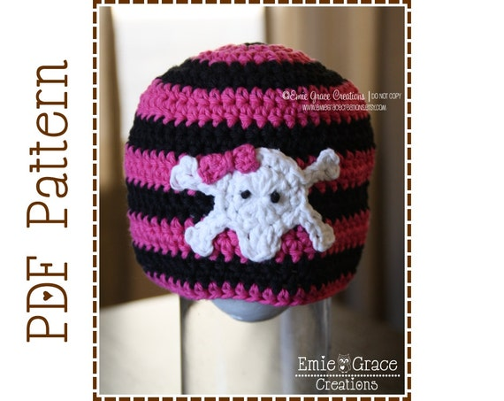 Skull And Crossbone Hat Crochet Pattern 8 Sizes From Newborn Etsy