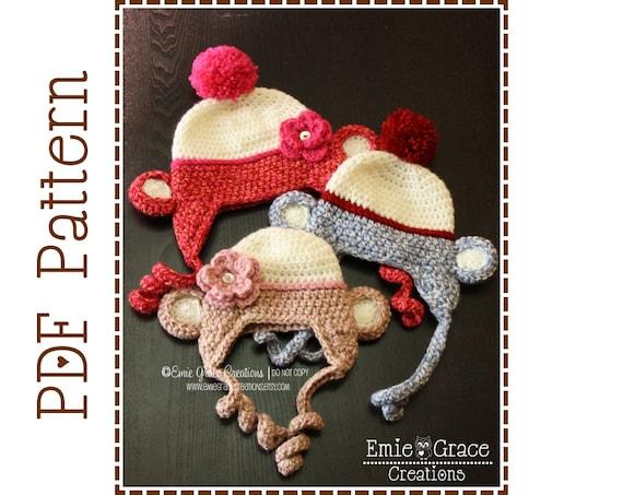 Crochet Sock Monkey Hat Pattern Classic Ear Flap Mikey And Etsy