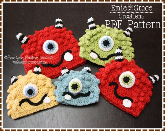 Crochet Monster Hat Pattern Silly Beanie Bronster And Missy Etsy