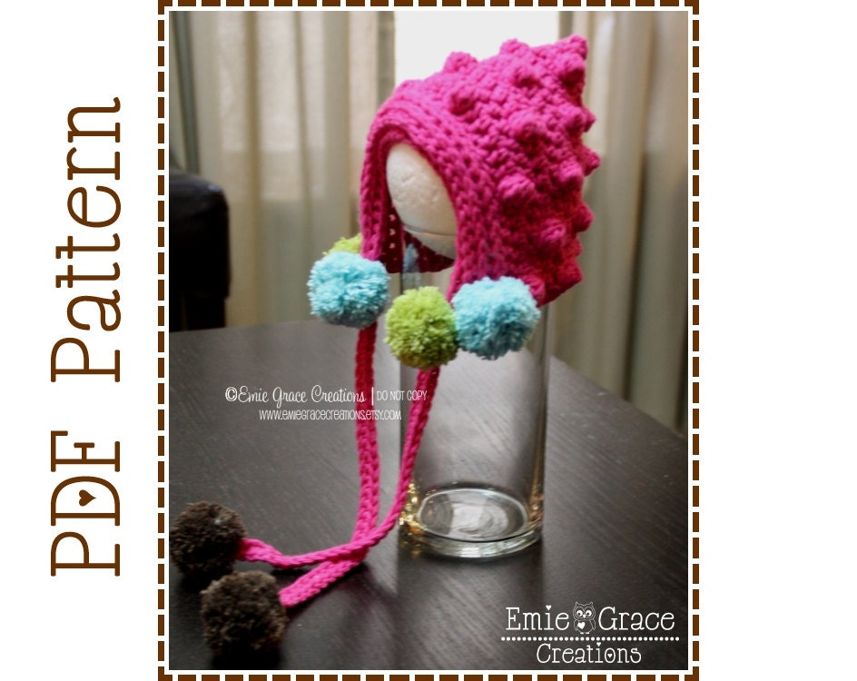 78ef8e3d274 Crochet Bonnet Pattern Pom Pom Pixie Hat BETSY BOBBLE BONNET