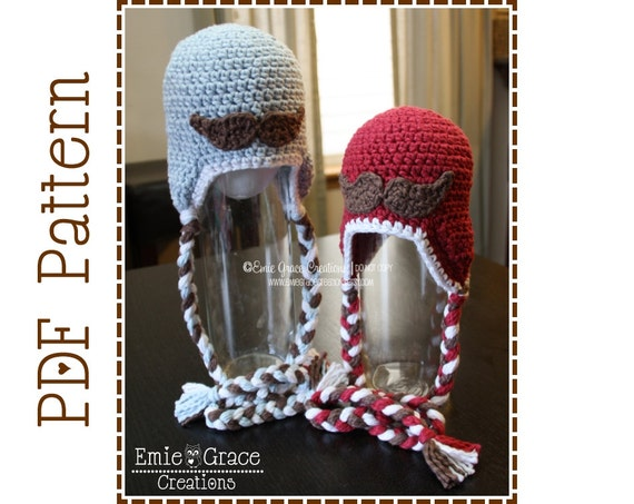 Mustache Hat Crochet Pattern Hipster Ear Flap Little Man Etsy
