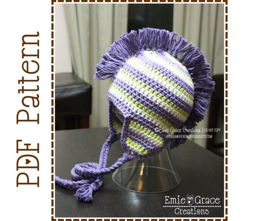 Mohawk Hat Crochet Pattern Stripe Ear Flap Dylan Pdf 308