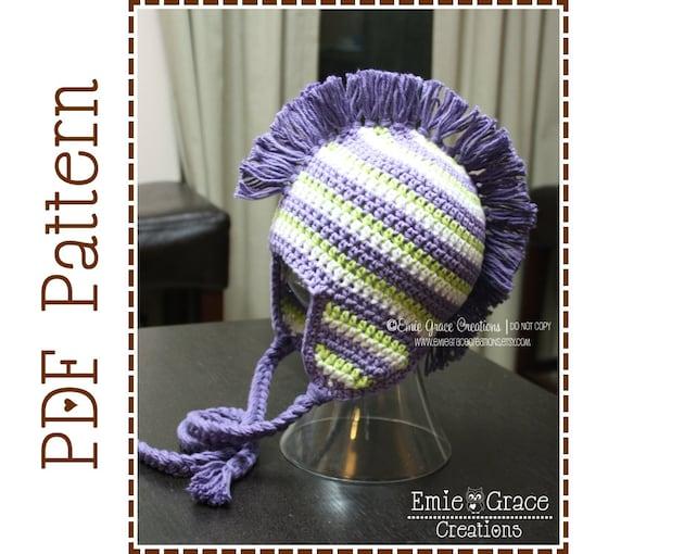 Mohawk Hat Crochet Pattern Stripe Ear Flap Dylan Pdf 308 Etsy
