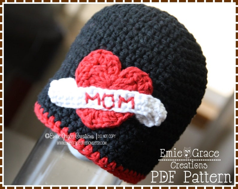 I Love Mom Beanie (Crochet Pattern)