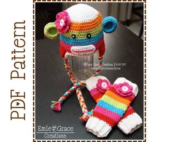 Crochet Sock Monkey Hat And Leg Warmers Pattern Ear Flap Etsy