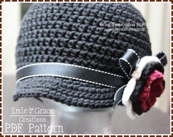 Newsboy Hat Crochet Pattern, 8 Sizes from Newborn to Adult, JANINE - pdf 226
