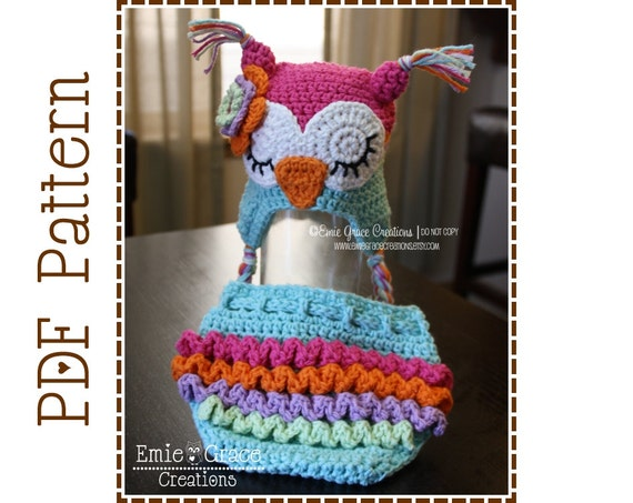Owl Hat And Ruffle Diaper Cover Crochet Pattern Set Who Etsy