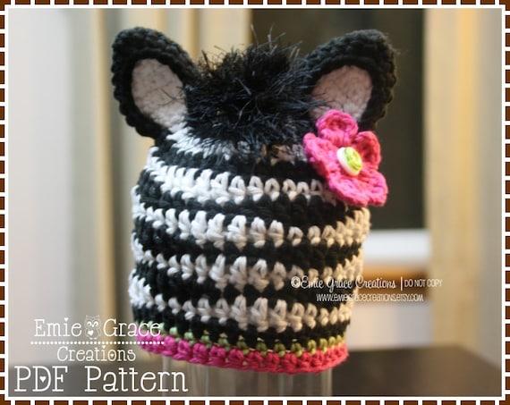 Crochet Zebra Hat Pattern Mohawk Mane Beanie Zoey And Zane Etsy