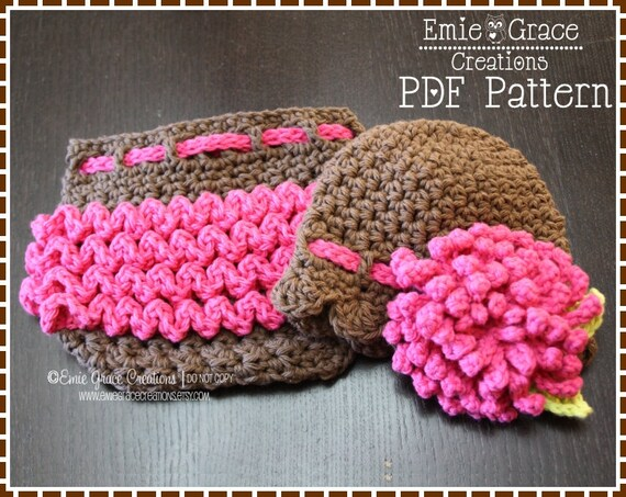 Flower Hat And Ruffle Diaper Cover Crochet Patterns Delila Etsy