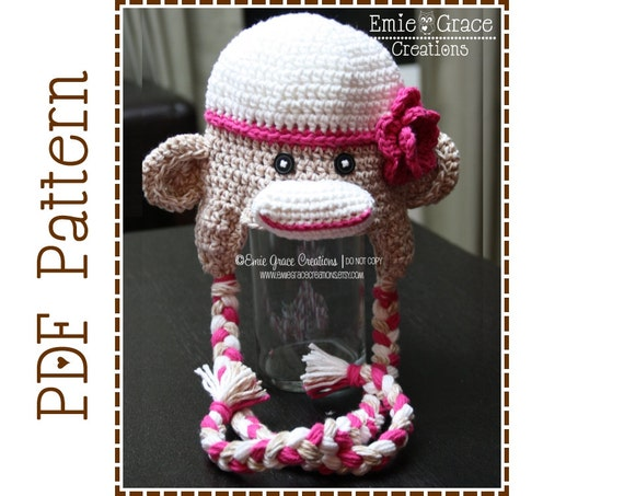 Crochet Sock Monkey Hat And Diaper Cover Pattern Classic Etsy