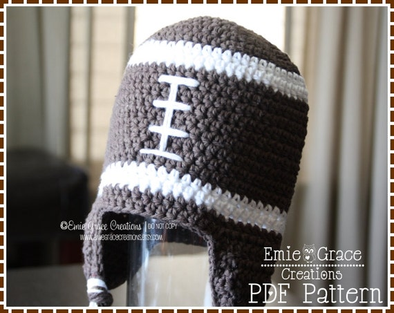 Crochet Football Hat Pattern 8 Sizes From Newborn To Adult Etsy
