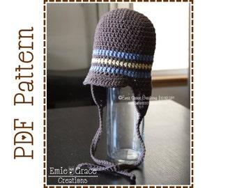 Crochet Brimmed Hat Pattern,Striped Ear Flap, CALEB - pdf 403