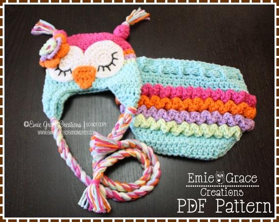 Crochet Owl Hat Ruffle Diaper Cover Patterns Ear Flap 8 Etsy