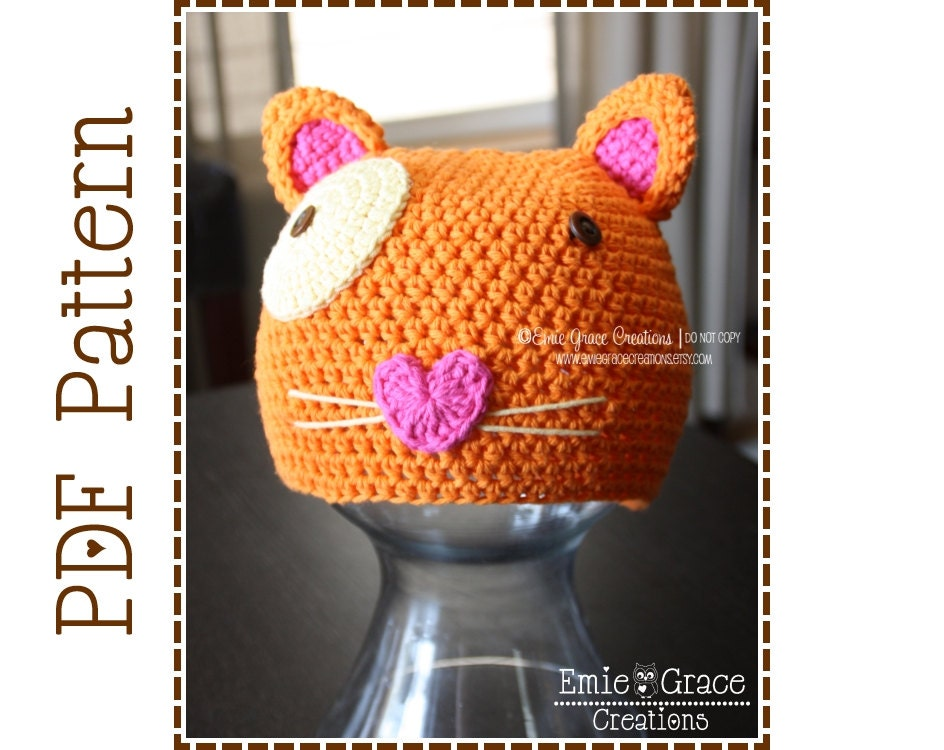 Crochet Cat Hat Pattern Animal Beanie Mitzy Euro Kitty Etsy