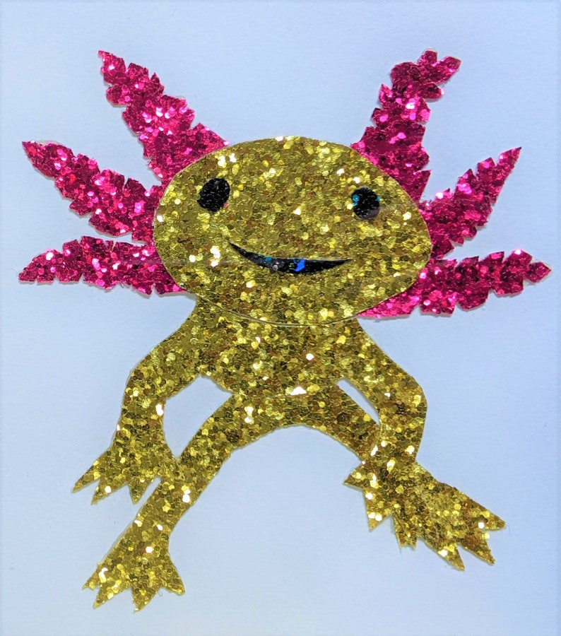 Axolotl Mexican salamander framed glitter collage print 5 x 7 Science biology genetics art gift regeneration