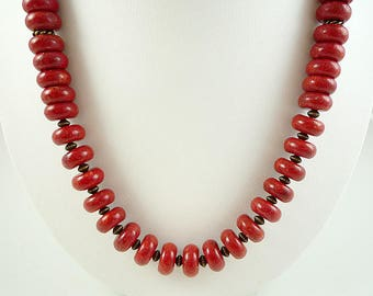 Red Coral Necklace Red Sponge Coral Necklace Red Coral Bead Necklace Red Coral Strand Coral Brass Necklace Sponge Coral Necklace