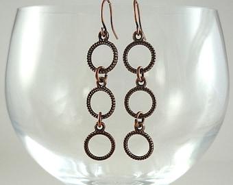 Copper Earrings Antiqued Copper Earrings Copper Drop Earrings Small Copper Hoop Earrings Copper Dangly Earrings Copper Drops Triple Hoops