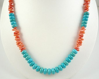 Turquoise Coral Necklace Long Coral Turquoise Necklace Peach Coral Necklace Salmon Coral Beach Necklace Bamboo Coral Turquoise Strand
