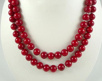 Long Red Necklace Long Red Bead Necklace Cherry Red Necklace Beaded Long Red Strand Red Silver Necklace Long Red Beaded Necklace Red Beads