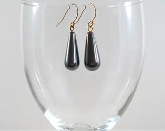 Hematite Earrings Gray Hematite Gemstone Earrings Hematite Gold Gemstone Earrings Hematite Drop Earrings Hematite Dangle Earrings