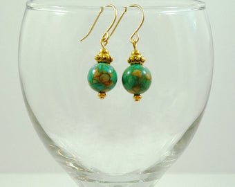 Turquoise Earrings Mosaic Turquoise Earrings Turquoise Gold Earrings Turquoise Bead Earrings Turquoise Drop Earrings Turquoise Drops