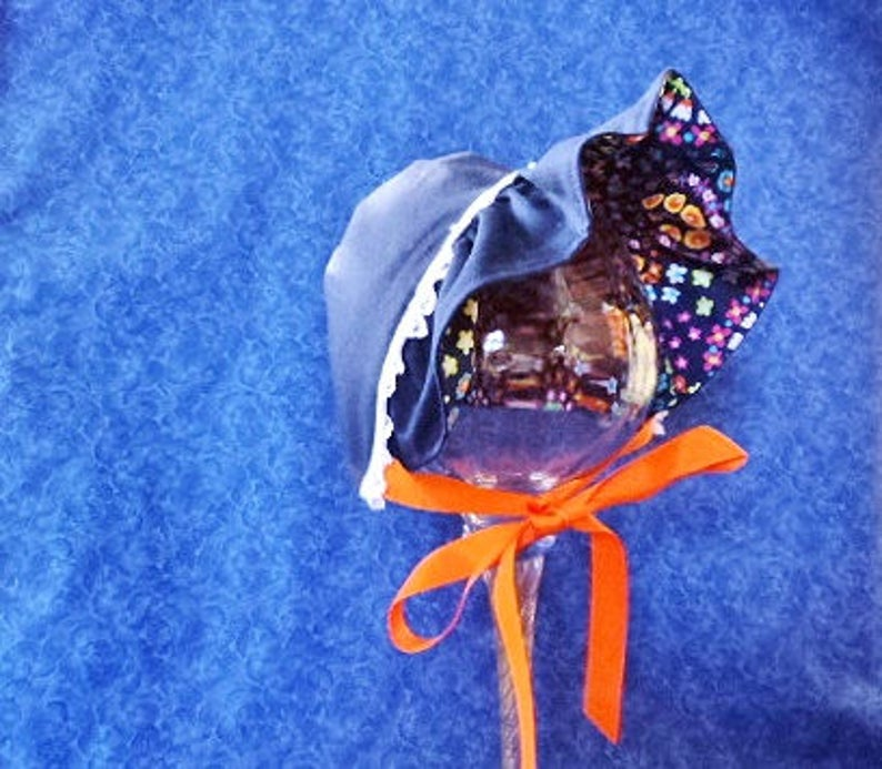 Colorful Baby Bonnet on Navy Blue Reversible