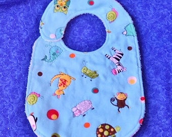 Light Blue Baby Bib with Animals All Over!