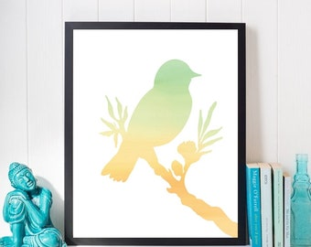Bird on a Branch Silhouette, Printable, Watercolor, Digital, Instant Download, Wall Art, Home Decor, Art, Art Print, Wall Decor, Wall Print