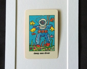 Vtg Deep Sea Diver 5 x 7 Matted Childrens Playing Card