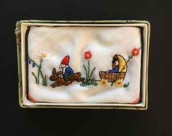 Vtg Child's Embroidered Hanky - Gnome Riding A Rabbit - In Original Box - Switzerland