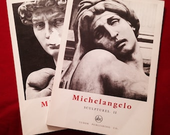 Set of two Michelangelo Sculpture books by Tudor Publishing. Black and white phitigraphy. Some wear to cover as you can see from book #1