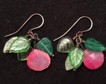 Rockabilly organic chalcedony & glass earrlings antiqued sterling