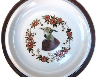 SALE - Billy Goat Portrait Plate  8.15""