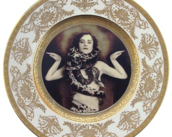 """The Snake Lady Altered Vintage Plate 10.5"""""""