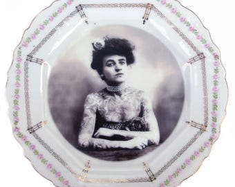 The Tattooed Lady Portrait Plate 7.5""