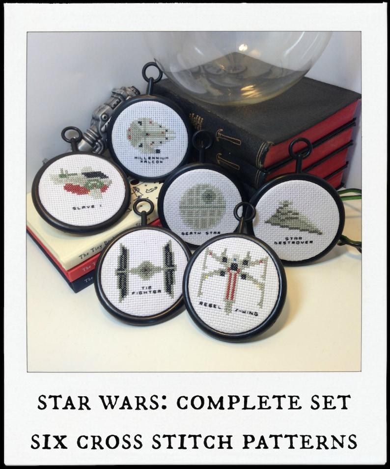 six 6 tiny spaceship cross stitch patterns  star wars image 0