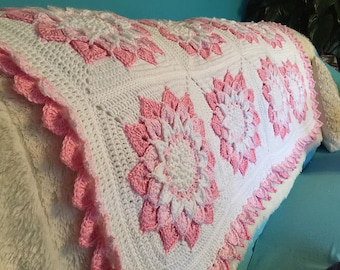 Floral Wild Rose Crocheted Afghan King Size Made Fresh
