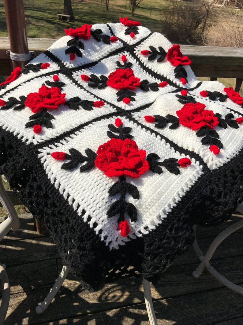 25 squares Made fresh after sale Red Rose Afghan Throw with Black trim Floral Crocheted Blanket