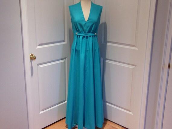Vintage 1960's/1970's  Blue Sleeveless Maxi Dress - image 1